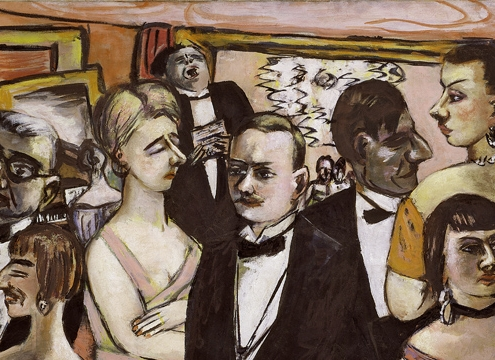 Max Beckmann Paris Society (Gesellschaft Paris) 1931 Oil on canvas 43 x 69 1/8 inches (109.2 x 175.6 cm) Solomon R. Guggenheim Museum, New York 70.1927 © 2017 Artists Rights Society (ARS), New York/VG Bild-Kunst, Bonn Painting Expressionism Neue Sachlichkeit